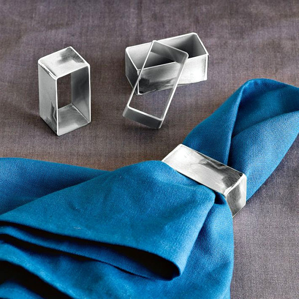 Rectangular metal napkin rings