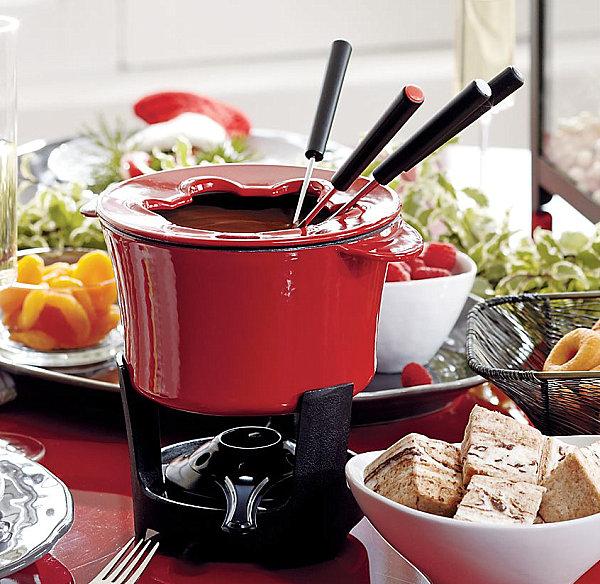 Red enamel fondue set