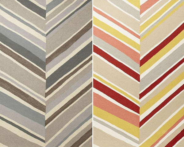 Rugs featuring a large chevron pattern