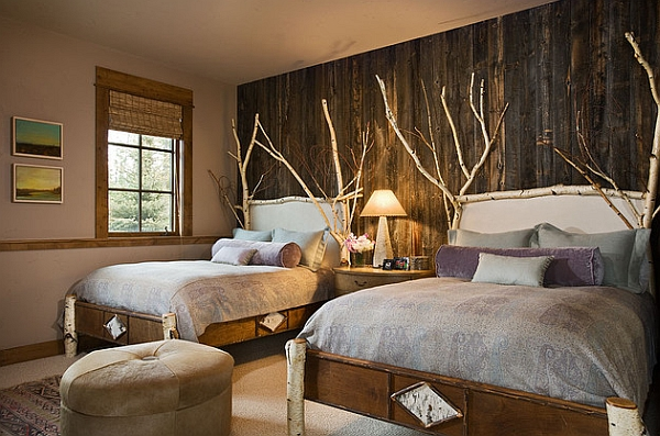 Rustic bedroom idea with wooden accent wall