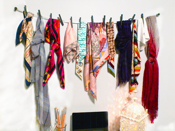 Scarves as wall art