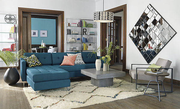 Sectional sofa in peacock blue