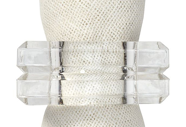 Set of 4 acrylic square napkin rings