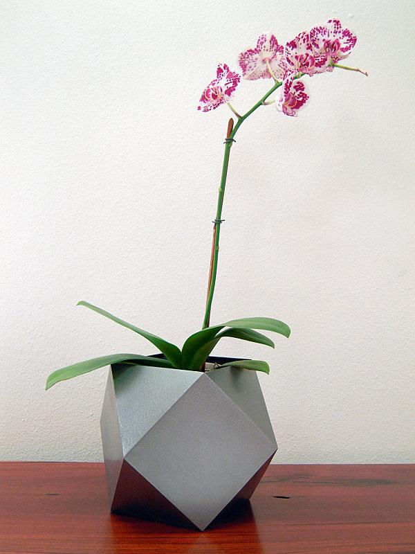 Silver polyhedron planter
