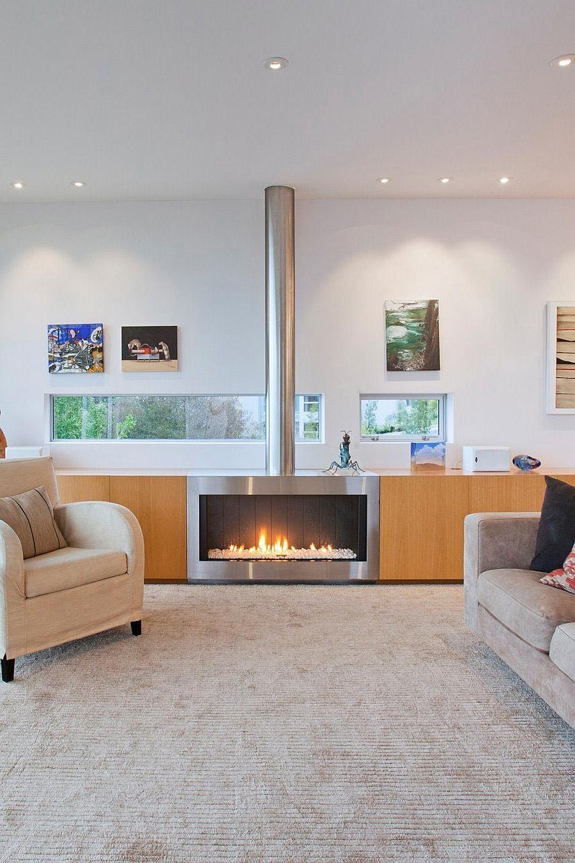Sleek, modern fireplace design