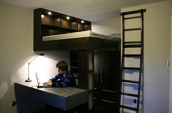 Small bedroom design idea with a loft bed and work space below decoist - Small work space decor ...
