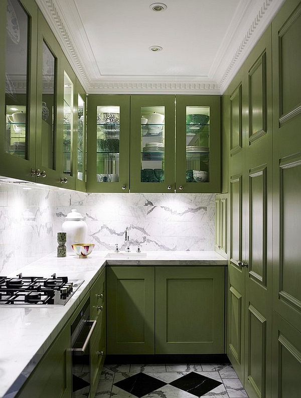 Small contemporary kitchen with trendy green cabinets