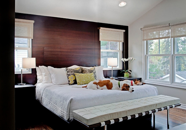 Solid rosewood paneling for the bedroom accent wall