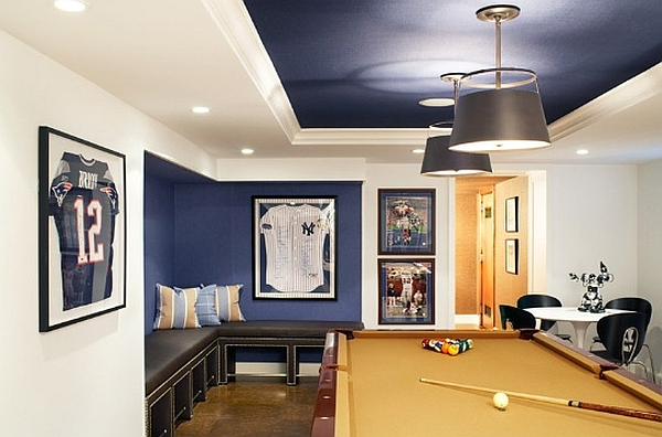 Sophisticated man cave idea in blue and white