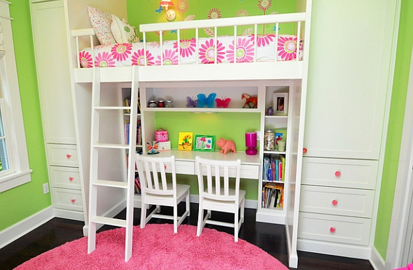 Girls Loft Bunk Beds with Desk 600 x 393