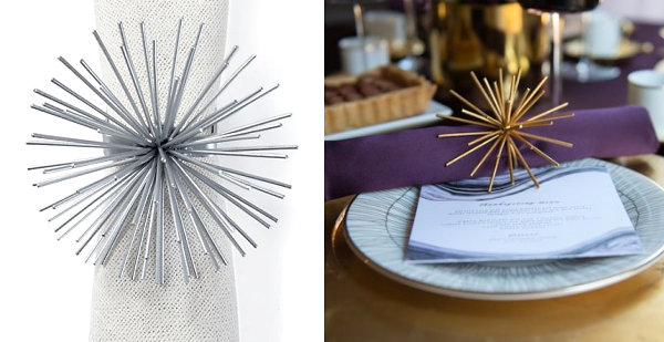Spiky napkin rings from Z Gallerie Elegant Napkin Rings That Add Style To Your Tabletop