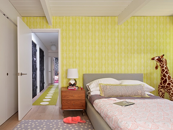 Splash of yellow for the accent wall in the kids' bedroom