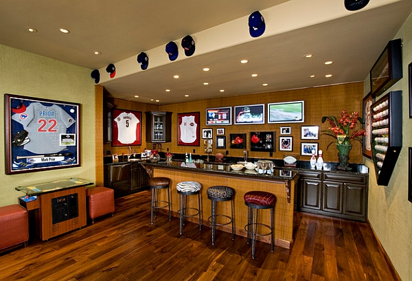 Sports Memorabilia adorns the walls of this home bar
