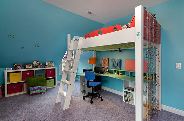Stairs and slides bring a fun element to the kids' bedroom