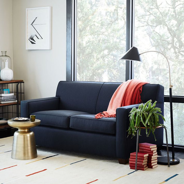 Streamlined navy sofa