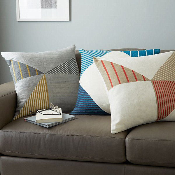 Stripe and triangle pillows from West Elm