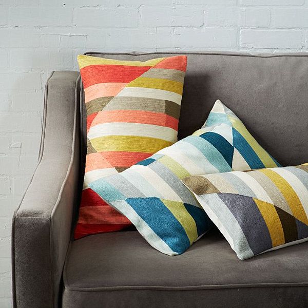 Striped geometric pillows