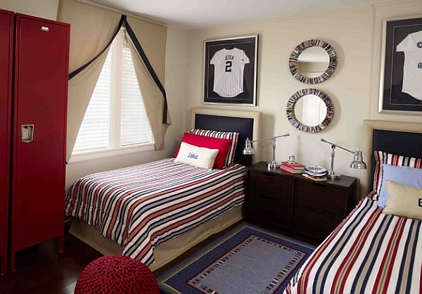 view in gallery stripes on the sheets seem to complement those on the framed jersey