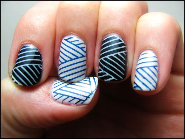 Stylish manicure with diagonal lines
