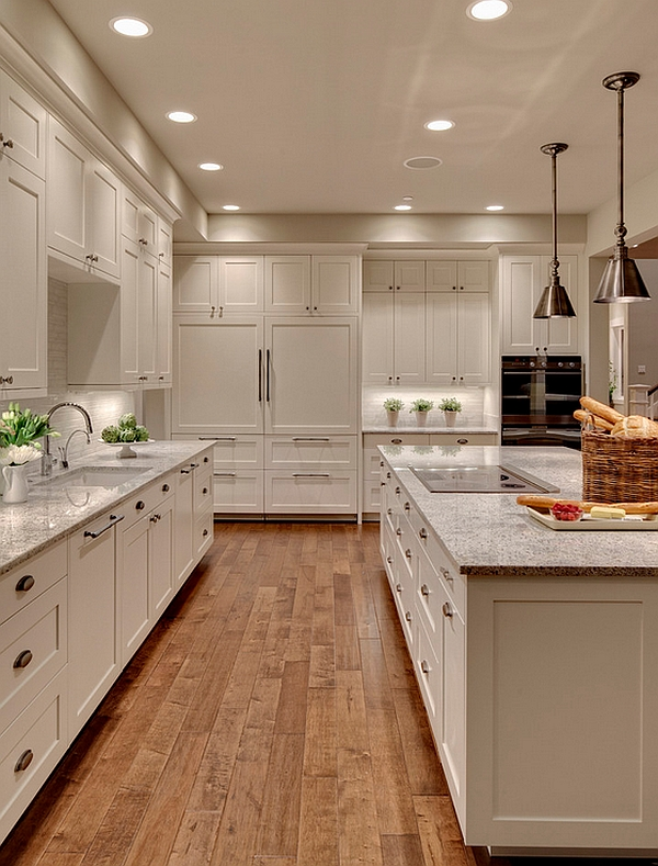 Stylish transitional kitchen with white cabinets