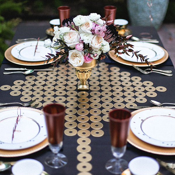 Table runner embellished with washers