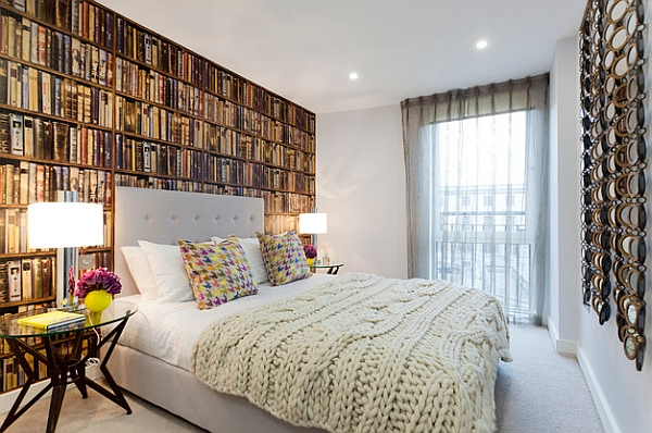 The library wallpaper sure add an erudite look to the bedroom!