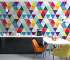 Triangle-patterned wall mural