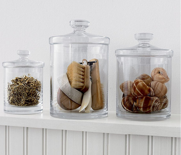 Trio of glass canisters