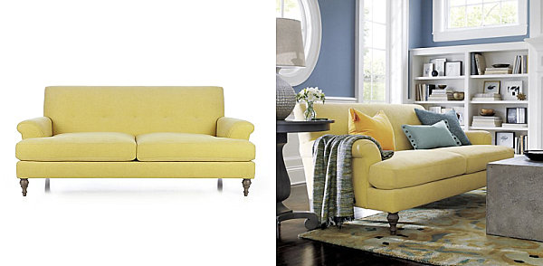 Tufted yellow sofa