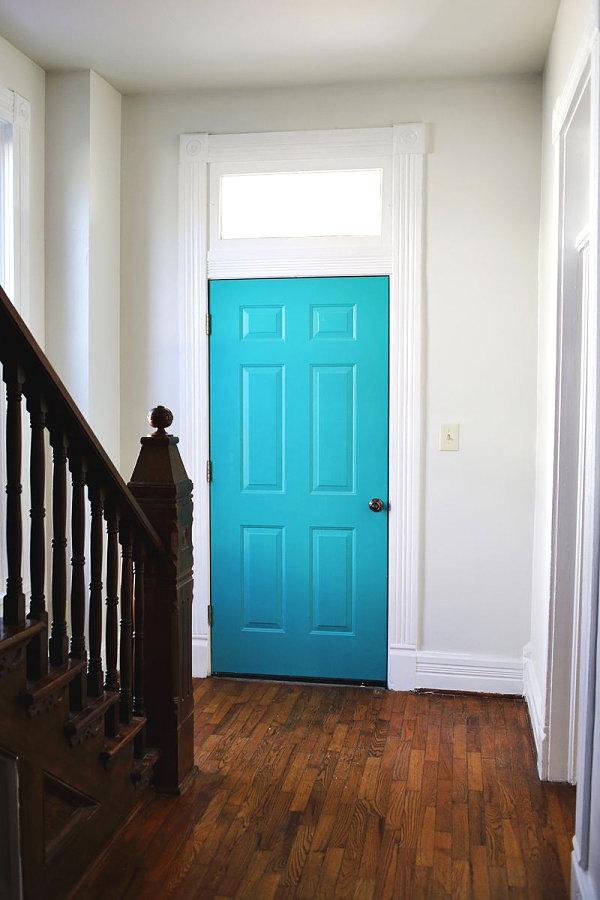 Turquoise entryway door