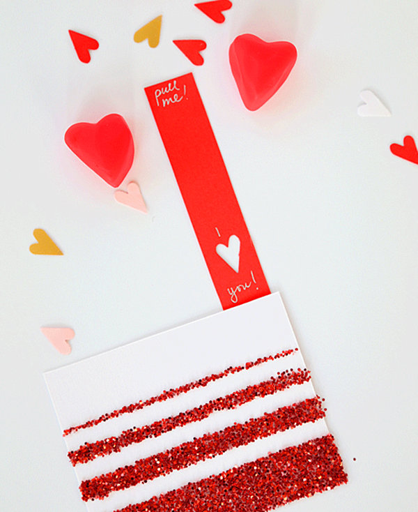 Valentine's Day card with glitter