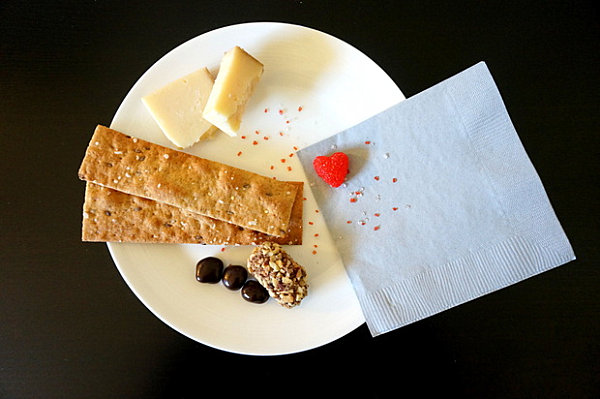 Valentine's Day party plate with cheese and chocolate