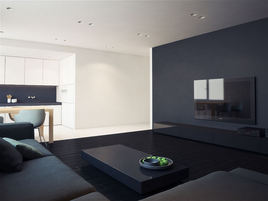 Visual contrast integrated into the structure of the apartment
