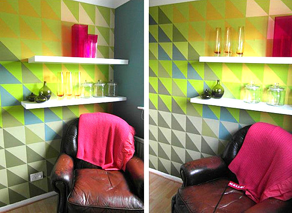 Wall mural with a triangle pattern