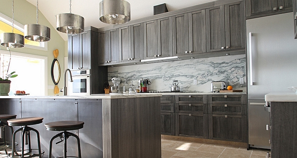 View in gallery Warm, dark gray kitchen cabinet idea