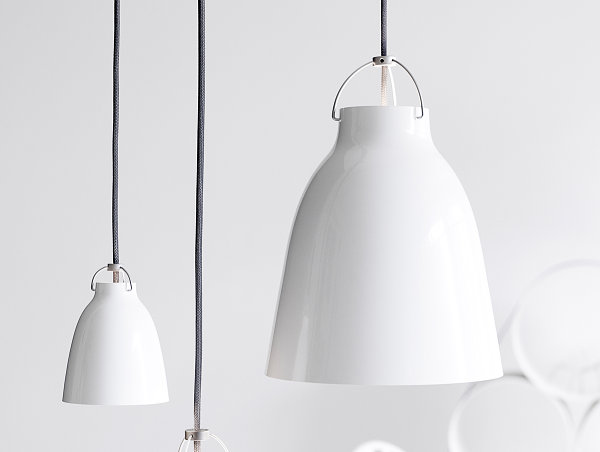 White dome-shaped pendant light