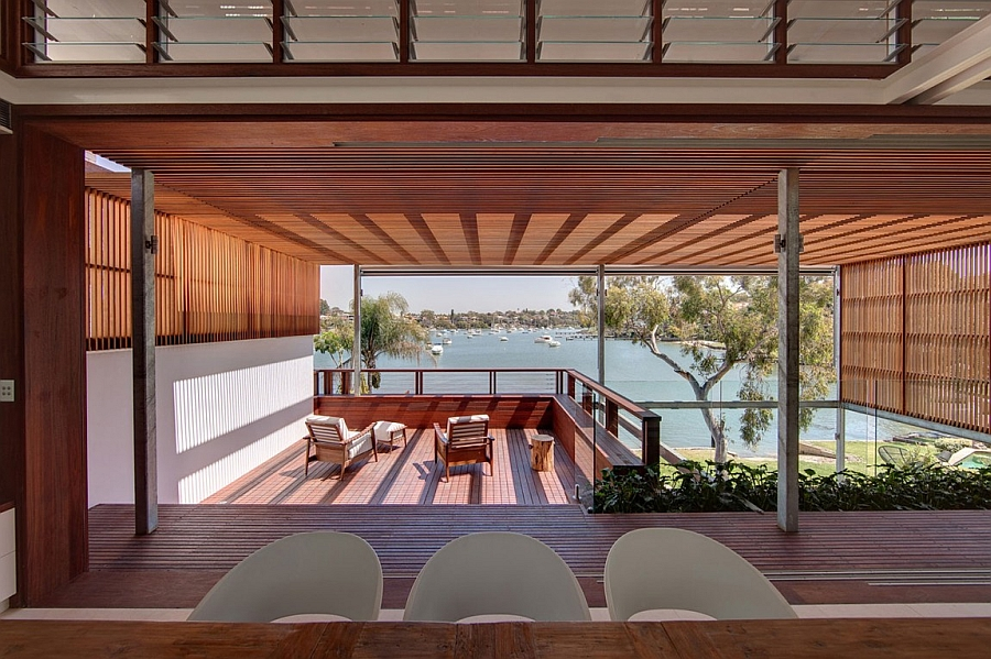 Wooden deck area with stunning harbor views
