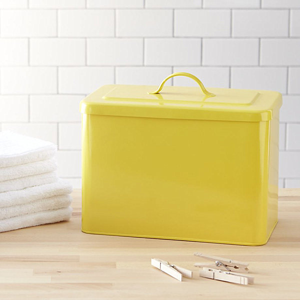 Yellow iron storage bin 12 Storage Boxes And Baskets That Blend Function And Style