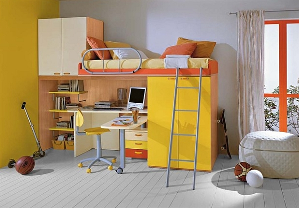 Yellow loft bed and desk combo enlivens the room