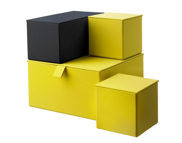 Yellow storage boxes in various sizes