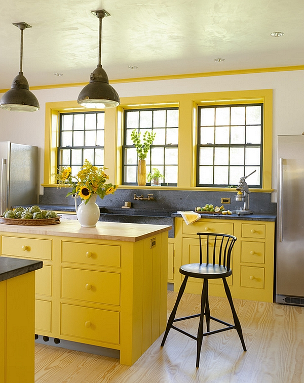 Yellow undeniably brings in freshness to the kitchen
