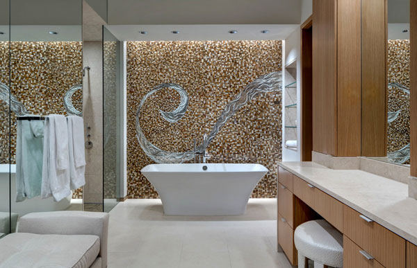 bernbaum magadini architects Beautiful Mosaic Walls Featuring Bits And Pieces Of Glass