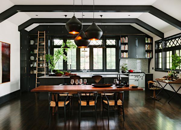 brass and black kitchen
