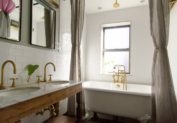 Brass hardware and fixtures are back for Master bathroom fixtures