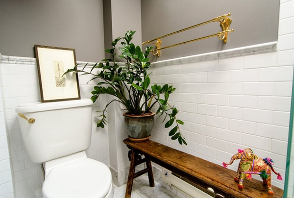 brass bathroom wooden bench