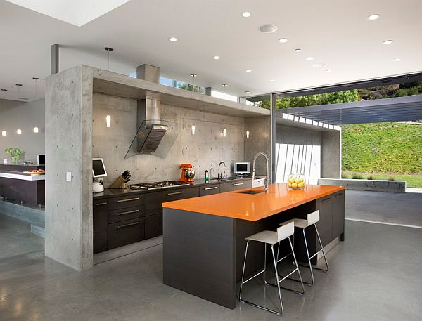 concrete wall in the kitchen