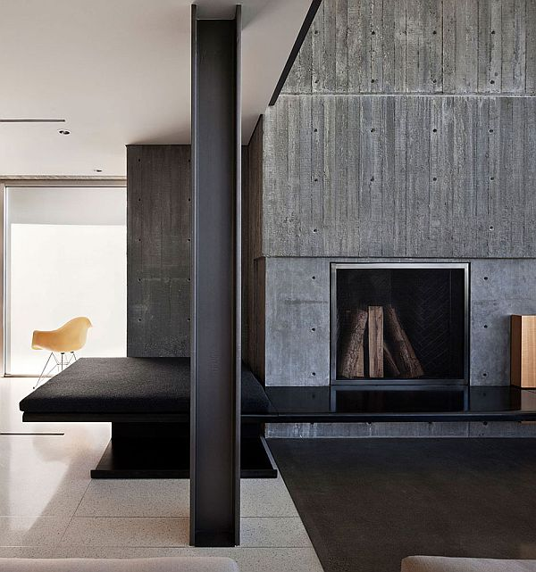 concrete wall with fireplace