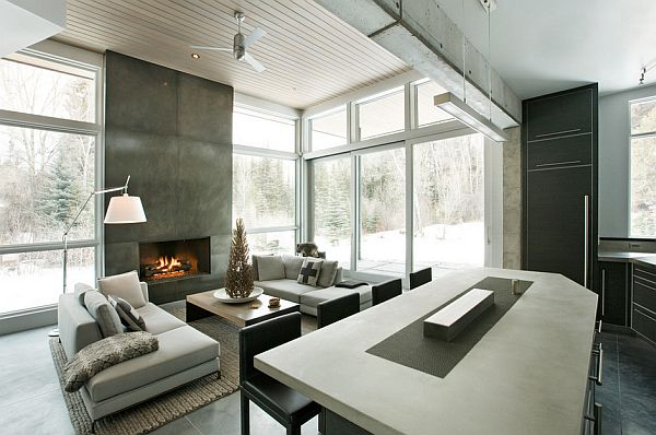 concrete walls living room