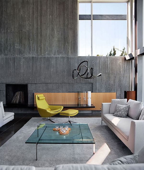 concrete walls - living room