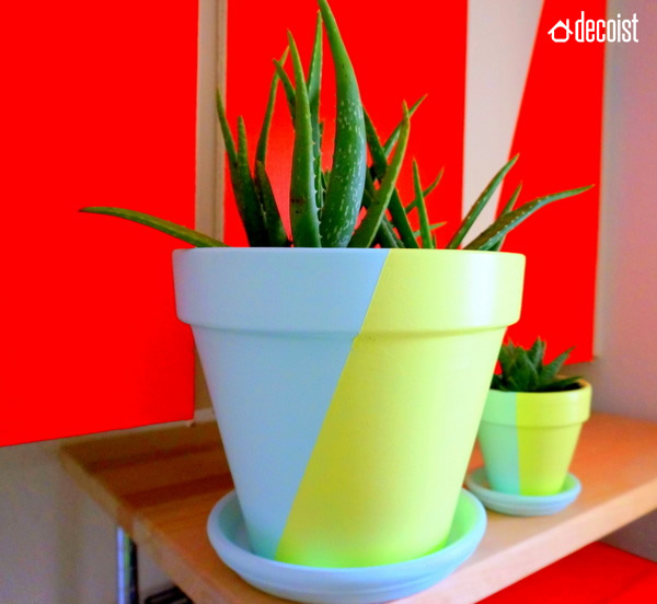 diy painted geometric pots – decoist
